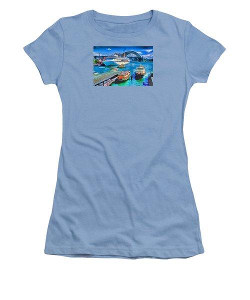 Women's T-Shirt (Junior Cut) featuring the photograph Sydney Quay by Dennis Cox WorldViews