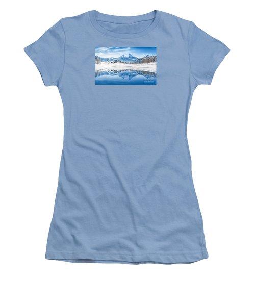 Winter Wonderland In The Alps Women's T-Shirt (Junior Cut) by JR Photography