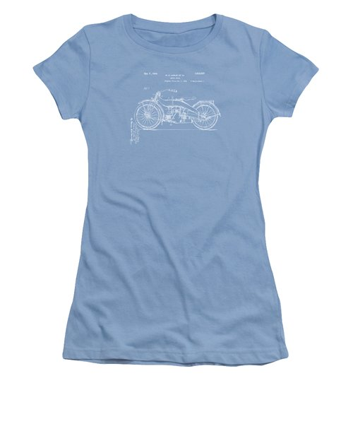 Women's T-Shirt (Junior Cut) featuring the digital art 1924 Harley Motorcycle Patent Artwork Blueprint by Nikki Marie Smith
