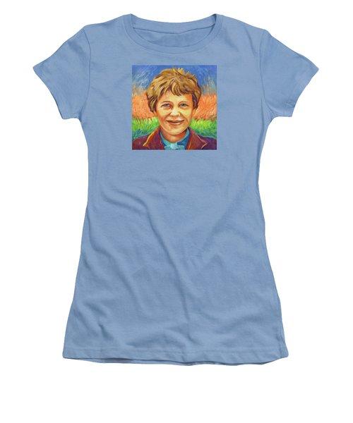 Amelia Earhart Portrait Women's T-Shirt (Athletic Fit)
