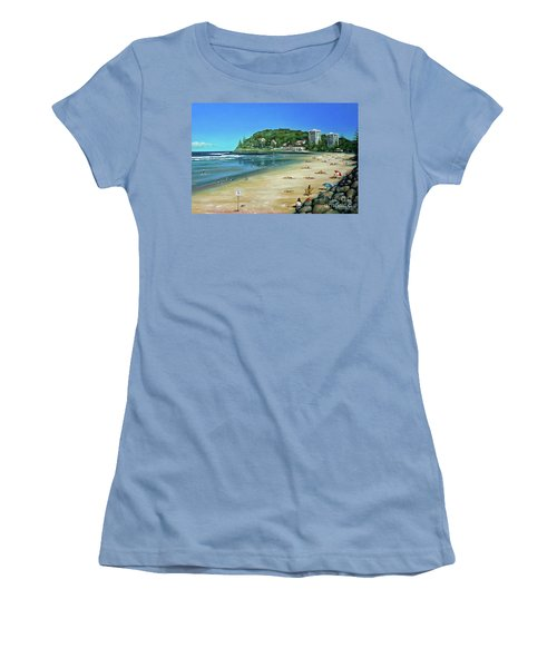 Women's T-Shirt (Junior Cut) featuring the painting Burleigh Beach 100910 by Selena Boron