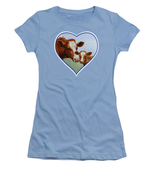 Cow And Calf Blue Heart Women's T-Shirt (Junior Cut) by Crista Forest