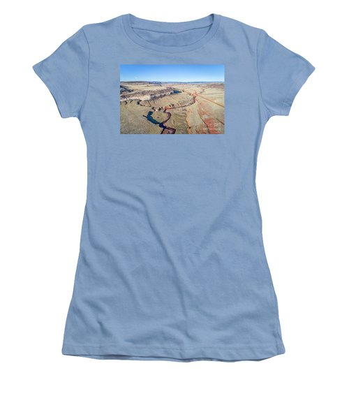 creek at  Colorado foothills - aerial view Women's T-Shirt (Athletic Fit)