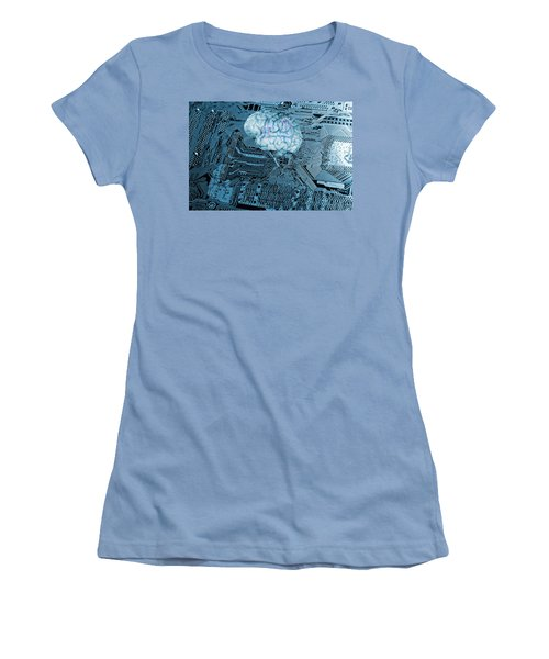 Women's T-Shirt (Junior Cut) featuring the photograph Human Brain And Communication by Christian Lagereek