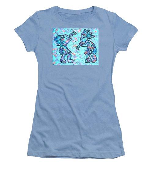 2 Kokopellis In Turquoise Women's T-Shirt (Athletic Fit)