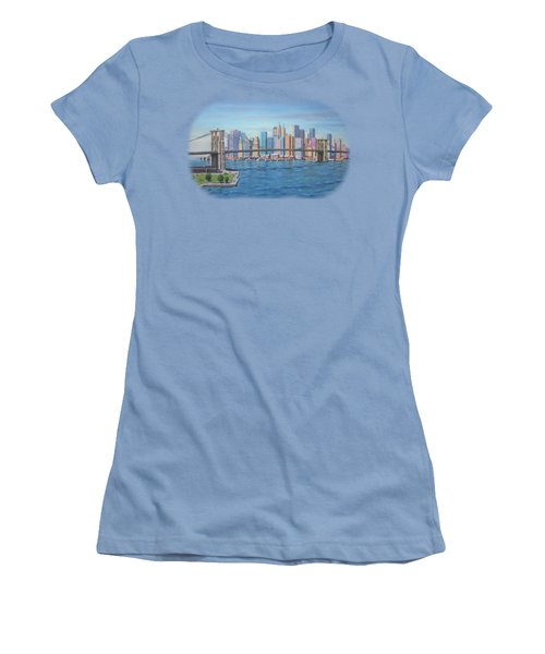 New York Brooklyn Bridge Women's T-Shirt (Junior Cut) by Renato Maltasic