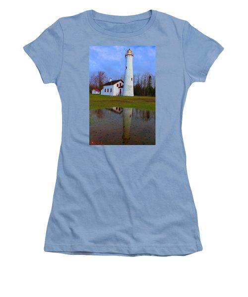Sturgeon Point Lighthouse Women's T-Shirt (Junior Cut) by Michael Rucker