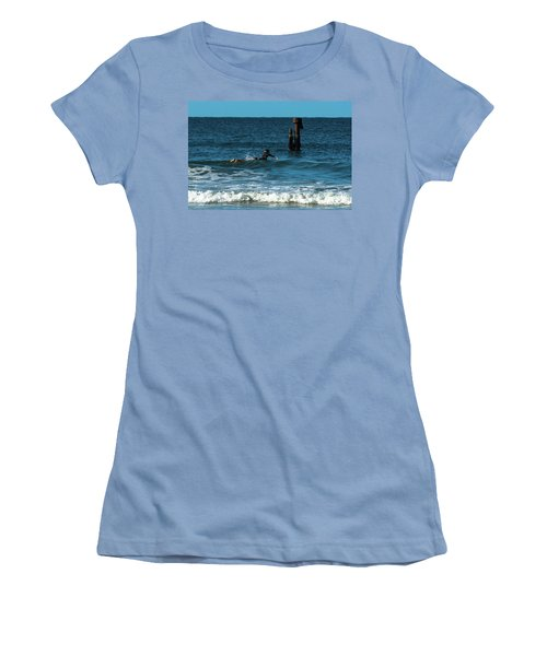 Surfing At  Women's T-Shirt (Athletic Fit)