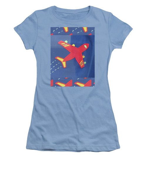 Women's T-Shirt (Athletic Fit) featuring the digital art Theme Aviation Aeroplanes Aircraft Travel Holidays Christmas Birthday Festival Gifts Tshirts Pillows by Navin Joshi
