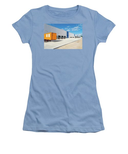 Women's T-Shirt (Junior Cut) featuring the photograph Warehouse Exterior by Hans Engbers