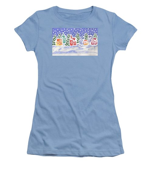Winter Landscape With Multicolor Houses, Painting Women's T-Shirt (Junior Cut) by Irina Afonskaya
