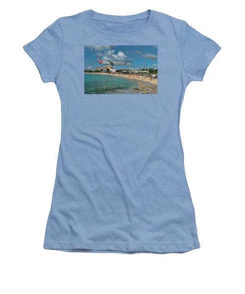 American Airlines At St. Maarten Women's T-Shirt (Junior Cut) by David Gleeson