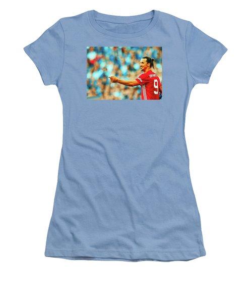 Manchester United's Zlatan Ibrahimovic Celebrates Women's T-Shirt (Athletic Fit)