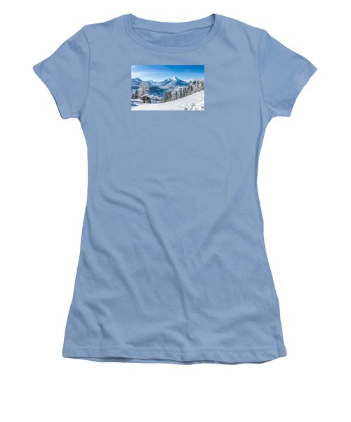 Snowy Landscape In The Alps Women's T-Shirt (Athletic Fit)