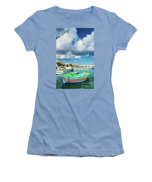 Marsaxlokk Harbour And Traditional Mediterranean Fishing Boats I Women's T-Shirt (Athletic Fit)