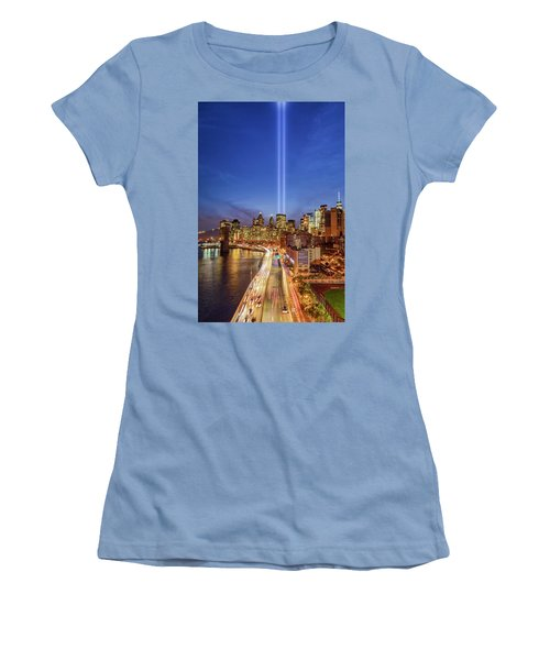 Women's T-Shirt (Athletic Fit) featuring the photograph 911 Tribute In Light In Nyc II by Susan Candelario