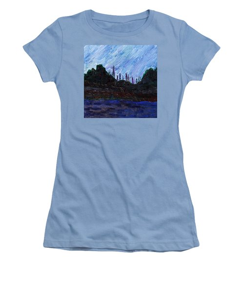 Women's T-Shirt (Athletic Fit) featuring the painting A City That Never Sleeps by Vadim Levin