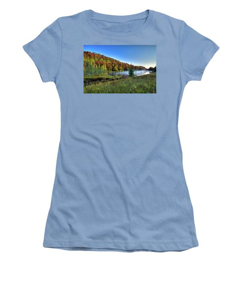 Women's T-Shirt (Athletic Fit) featuring the photograph A Misty Autumn Morning by David Patterson