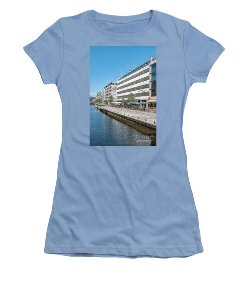 Women's T-Shirt (Junior Cut) featuring the photograph Aarhus Canal Scene by Antony McAulay