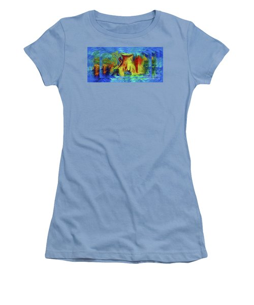 Abstract Artgo With The Flow Women's T-Shirt (Junior Cut) by Sherri's Of Palm Springs