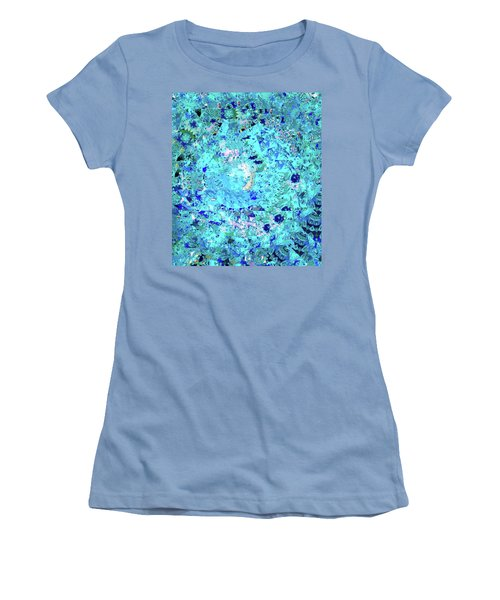 Abstract In Blue No. 56-2 Women's T-Shirt (Junior Cut) by Sandy Taylor
