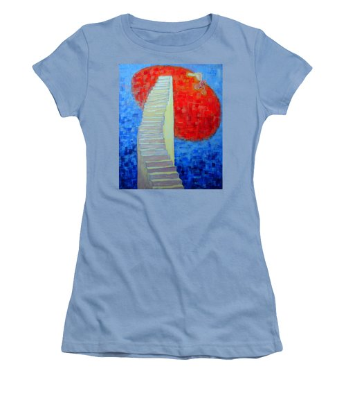 Women's T-Shirt (Junior Cut) featuring the painting Abstract Moon by Ana Maria Edulescu