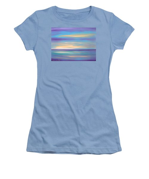 Abstract Sunset In Purple Blue And Yellow Women's T-Shirt (Athletic Fit)