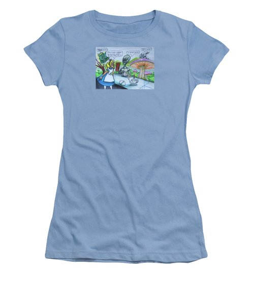 Women's T-Shirt (Junior Cut) featuring the painting Alien In Wonderland by Similar Alien
