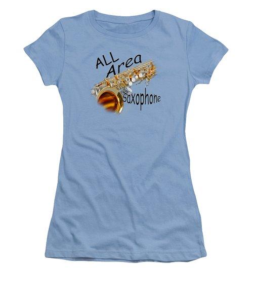 All Area Saxophone Women's T-Shirt (Junior Cut) by M K  Miller