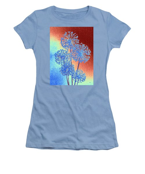 Women's T-Shirt (Athletic Fit) featuring the mixed media Alluring Allium Abstract by Will Borden