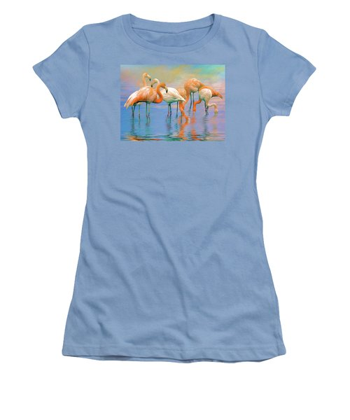 American Flamingos Women's T-Shirt (Junior Cut) by Brian Tarr