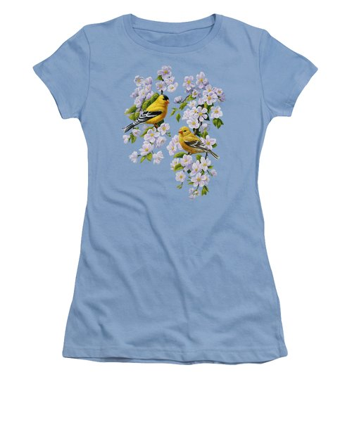 American Goldfinch Spring Women's T-Shirt (Junior Cut) by Crista Forest
