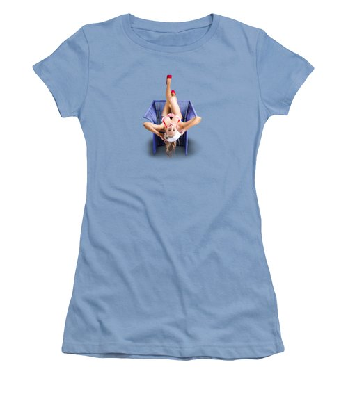 Women's T-Shirt (Junior Cut) featuring the photograph American Pinup Woman Upside Down On Cane Chair by Jorgo Photography - Wall Art Gallery