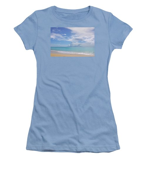 Antigua Beach View Of Montserrat Volcano Women's T-Shirt (Athletic Fit)