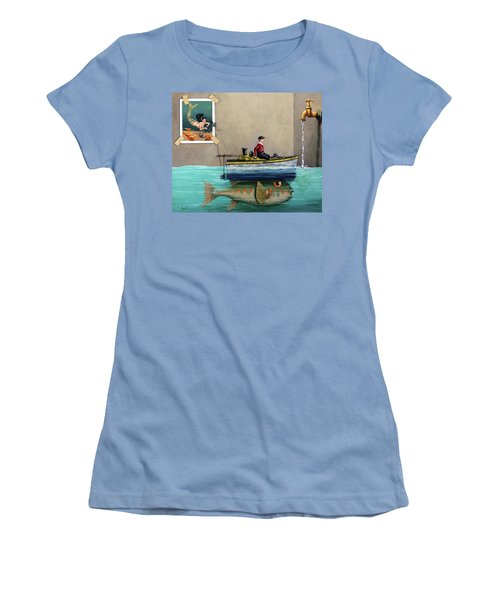 Women's T-Shirt (Junior Cut) featuring the painting Anyfin Is Possible - Fisherman Toy Boat And Mermaid Still Life Painting by Linda Apple