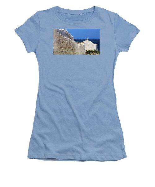 Women's T-Shirt (Junior Cut) featuring the photograph Architecture Mykonos Greece 2 by Bob Christopher