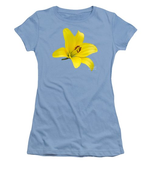 Yellow Asiatic Lily On Blue Women's T-Shirt (Junior Cut) by Jane McIlroy