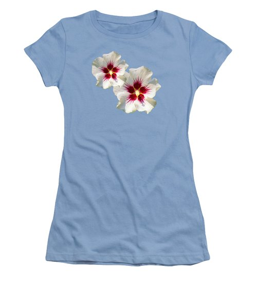 Women's T-Shirt (Junior Cut) featuring the mixed media Hibiscus Flower Pattern by Christina Rollo