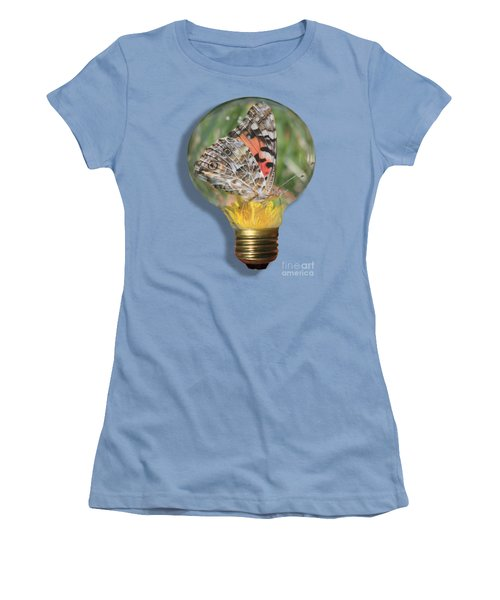 Butterfly In Lightbulb Women's T-Shirt (Junior Cut) by Shane Bechler