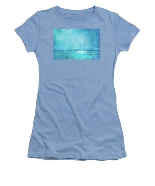 Women's T-Shirt (Junior Cut) featuring the mixed media At Anchor by Betty LaRue