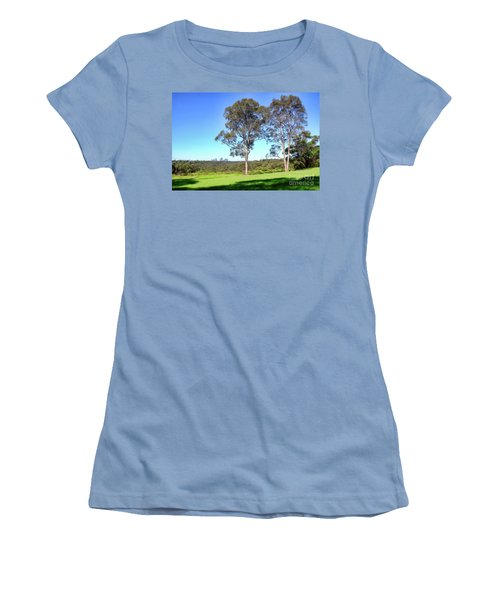 Women's T-Shirt (Junior Cut) featuring the photograph Aussie Gum Tree Landscape By Kaye Menner by Kaye Menner