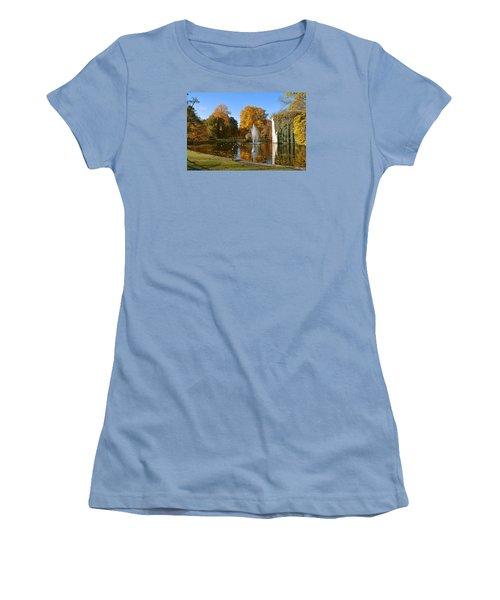 Women's T-Shirt (Junior Cut) featuring the photograph Autumn At The City Park Pond Maastricht by Nop Briex