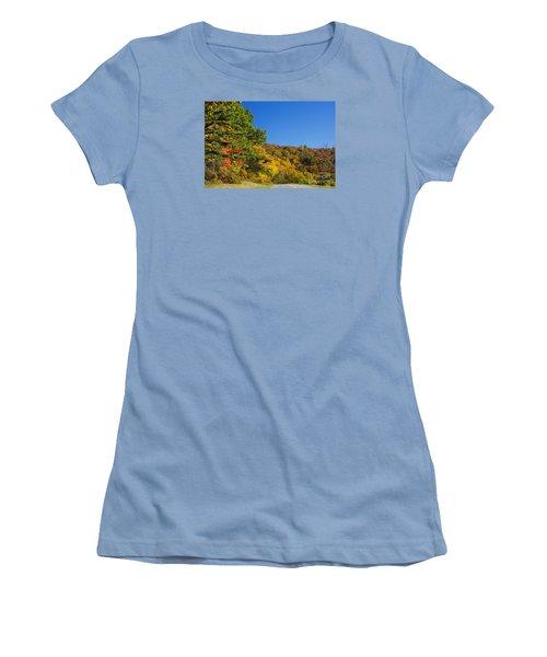Autumn Country Roads Blue Ridge Parkway Women's T-Shirt (Junior Cut) by Nature Scapes Fine Art