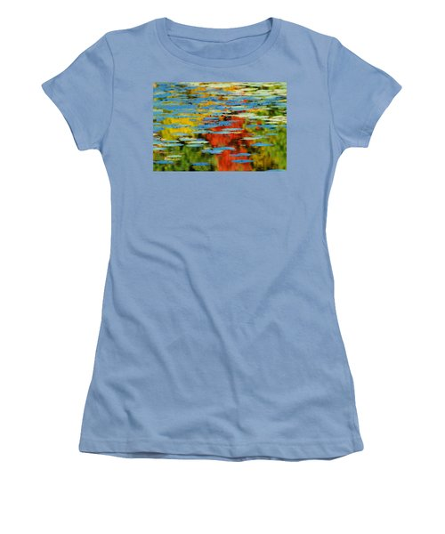 Women's T-Shirt (Junior Cut) featuring the photograph Autumn Lily Pads by Diana Angstadt