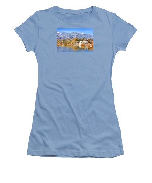 Women's T-Shirt (Junior Cut) featuring the photograph Autumn Snow At The Lake by Diane Alexander