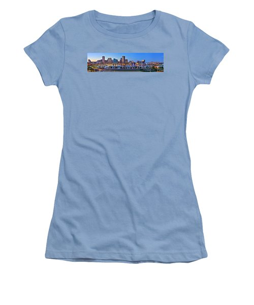 Baltimore Skyline Inner Harbor Panorama At Dusk Women's T-Shirt (Athletic Fit)