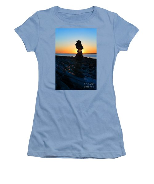 Beach Cairn At Sunrise Women's T-Shirt (Junior Cut) by Diane Diederich