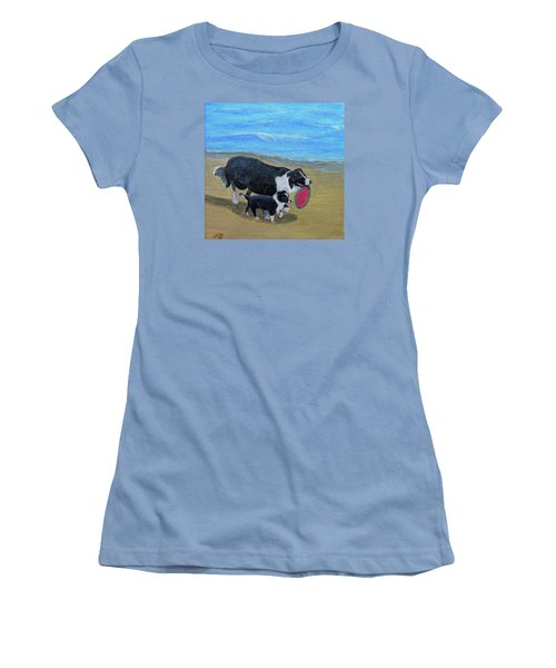 Women's T-Shirt (Junior Cut) featuring the painting Beach Frisbee by Fran Brooks