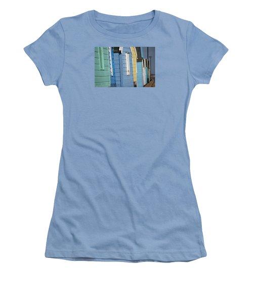 Beach Huts Closeup Women's T-Shirt (Junior Cut) by David Warrington