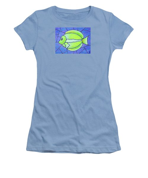 Women's T-Shirt (Junior Cut) featuring the painting Beckys Yellow Tropical Fish by Jim Harris